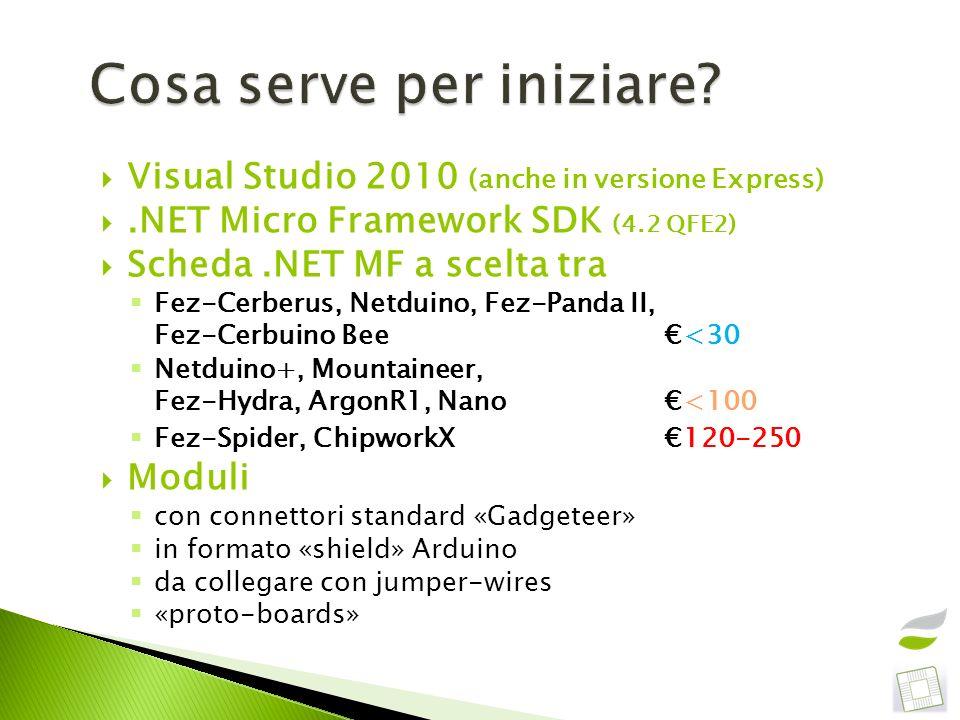 Visual Studio 2010 (anche in versione Express).NET Micro Framework SDK (4.2 QFE2) Scheda.NET MF a scelta tra Fez-Cerberus, Netduino, Fez-Panda II, Fez