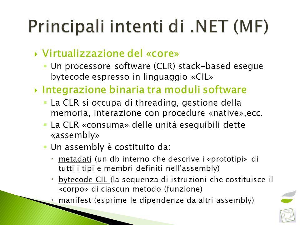 Virtualizzazione del «core» Un processore software (CLR) stack-based esegue bytecode espresso in linguaggio «CIL» Integrazione binaria tra moduli soft