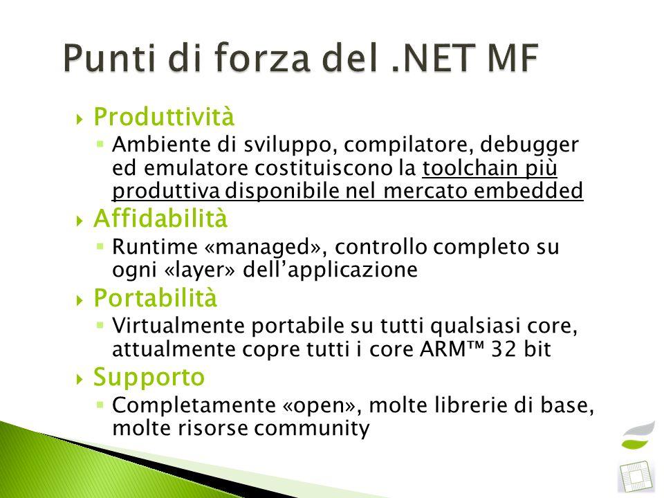 Produttività Ambiente di sviluppo, compilatore, debugger ed emulatore costituiscono la toolchain più produttiva disponibile nel mercato embedded Affid