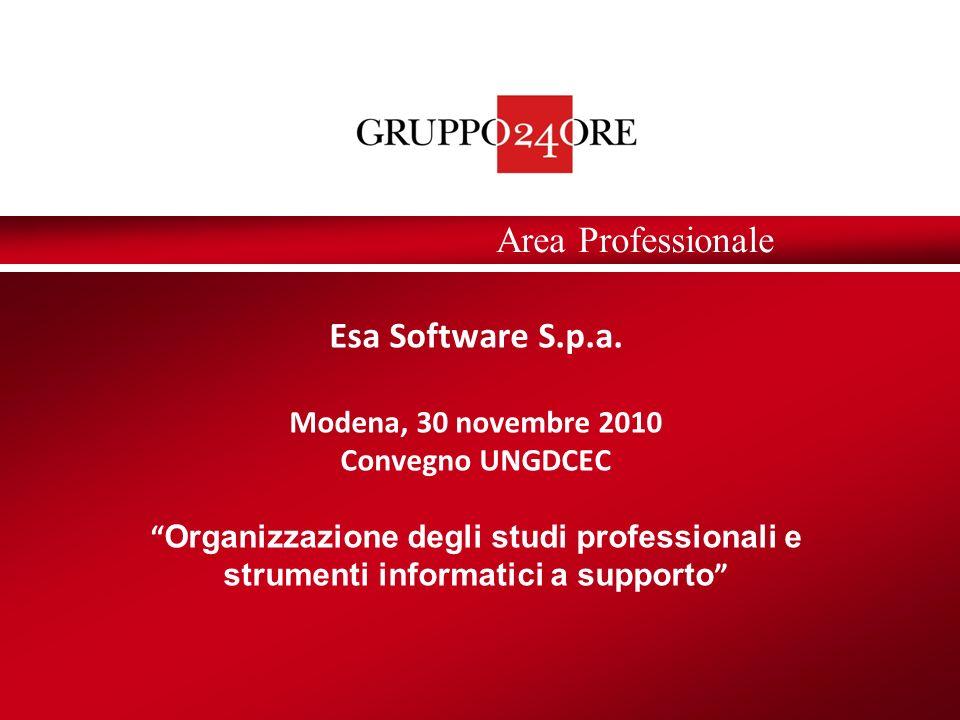Area Professionale Esa Software S.p.a. Modena, 30 novembre 2010 Convegno UNGDCEC Organizzazione degli studi professionali e strumenti informatici a su
