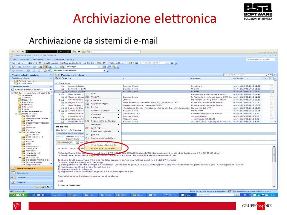 Archiviazione elettronica Archiviazione da sistemi di e-mail