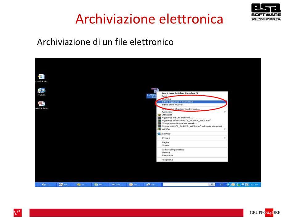 Archiviazione elettronica Archiviazione di un file elettronico