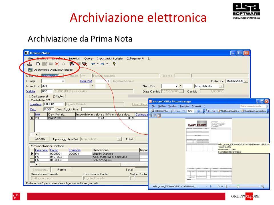 Archiviazione elettronica Archiviazione da Prima Nota