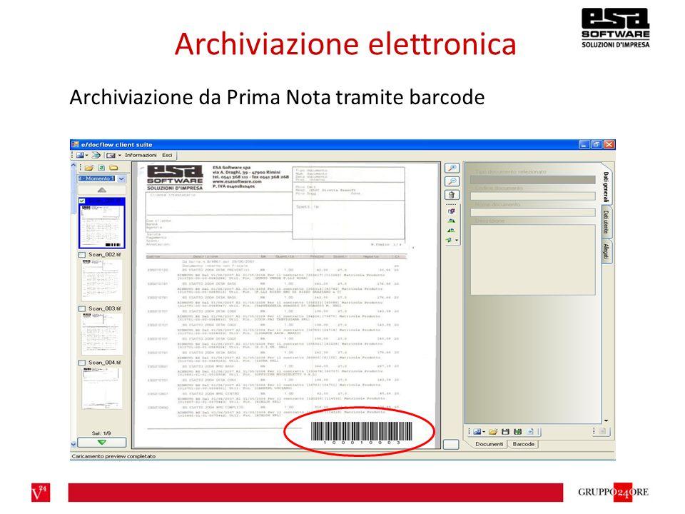 Archiviazione elettronica Archiviazione da Prima Nota tramite barcode