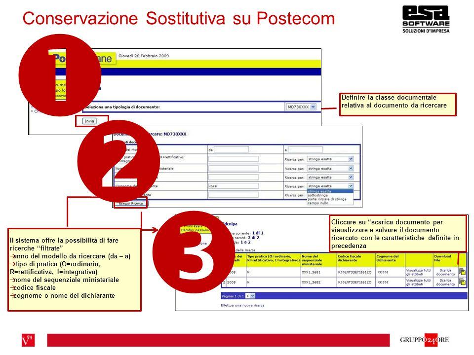 Conservazione Sostitutiva su Postecom Definire la classe documentale relativa al documento da ricercare Il sistema offre la possibilità di fare ricerc