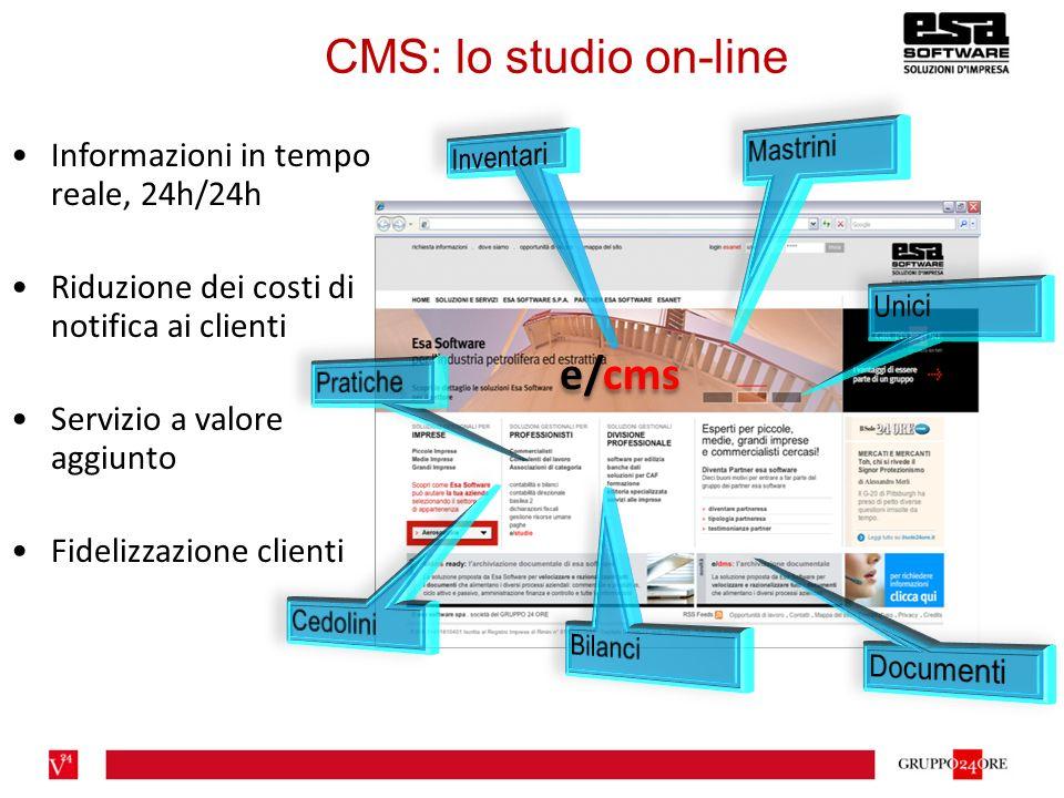 e/cms Informazioni in tempo reale, 24h/24h Riduzione dei costi di notifica ai clienti Servizio a valore aggiunto Fidelizzazione clienti CMS: lo studio on-line