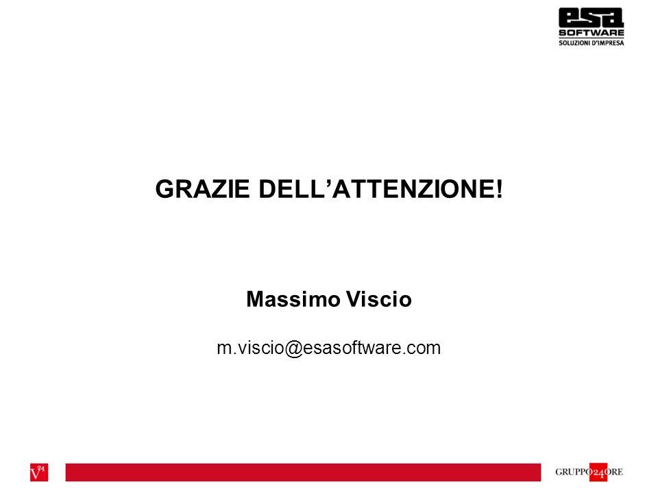 GRAZIE DELLATTENZIONE! Massimo Viscio m.viscio@esasoftware.com