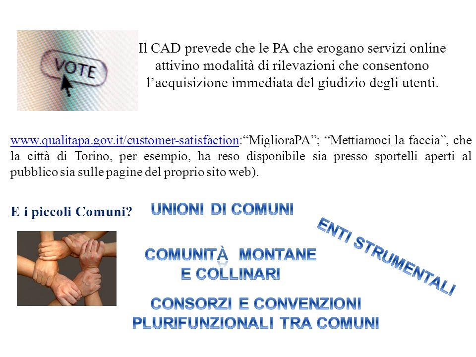 Il CAD prevede che le PA che erogano servizi online attivino modalità di rilevazioni che consentono lacquisizione immediata del giudizio degli utenti.