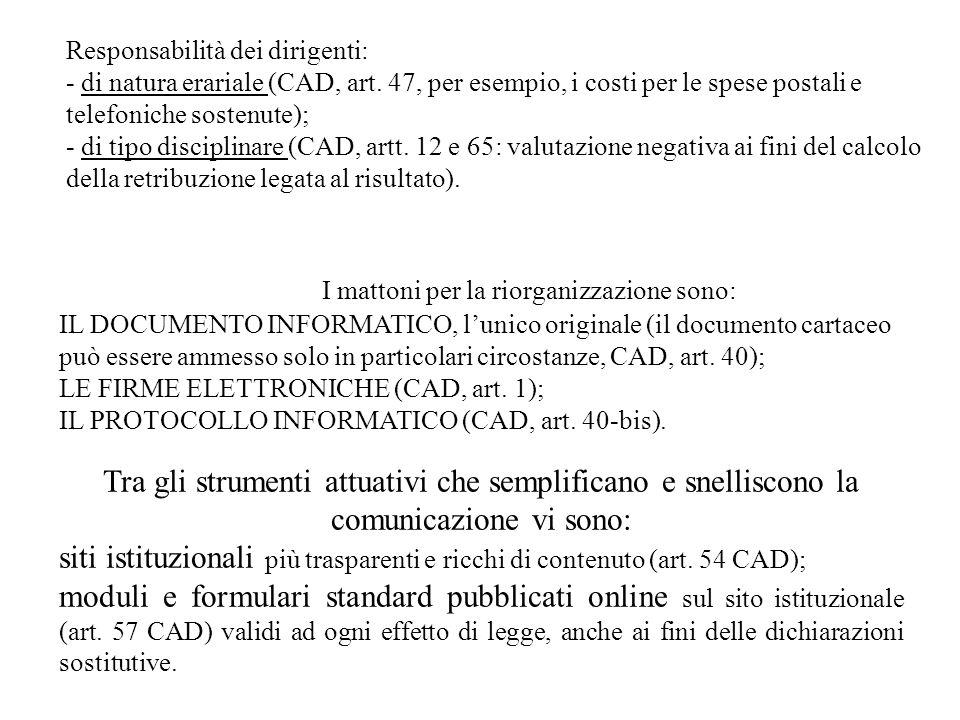 Responsabilità dei dirigenti: - di natura erariale (CAD, art.