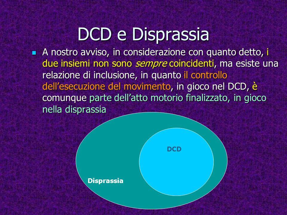 DCD e Disprassia A nostro avviso, in considerazione con quanto detto, i due insiemi non sono sempre coincidenti, ma esiste una relazione di inclusione, in quanto il controllo dellesecuzione del movimento, in gioco nel DCD, è comunque parte dellatto motorio finalizzato, in gioco nella disprassia A nostro avviso, in considerazione con quanto detto, i due insiemi non sono sempre coincidenti, ma esiste una relazione di inclusione, in quanto il controllo dellesecuzione del movimento, in gioco nel DCD, è comunque parte dellatto motorio finalizzato, in gioco nella disprassia Disprassia DCD