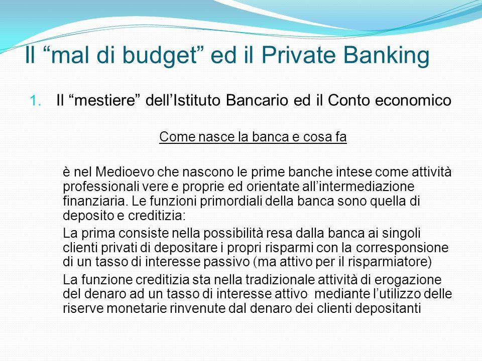 Il mal di budget ed il Private Banking 1. Il mestiere dellIstituto Bancario ed il Conto economico Come nasce la banca e cosa fa è nel Medioevo che nas