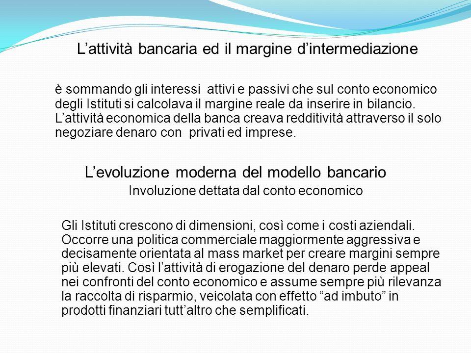 Lattività bancaria ed il margine dintermediazione è sommando gli interessi attivi e passivi che sul conto economico degli Istituti si calcolava il mar