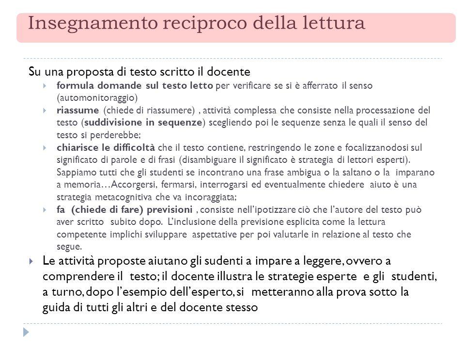 Insegnamento reciproco della lettura Su una proposta di testo scritto il docente formula domande sul testo letto per verificare se si è afferrato il s