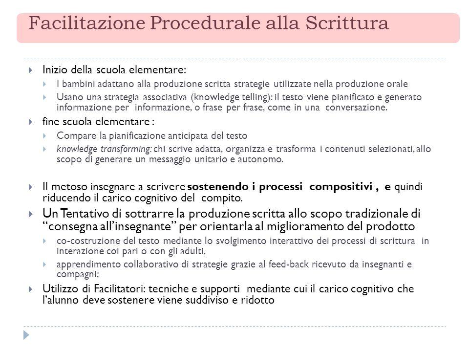 Facilitazione Procedurale alla Scrittura Inizio della scuola elementare: I bambini adattano alla produzione scritta strategie utilizzate nella produzi