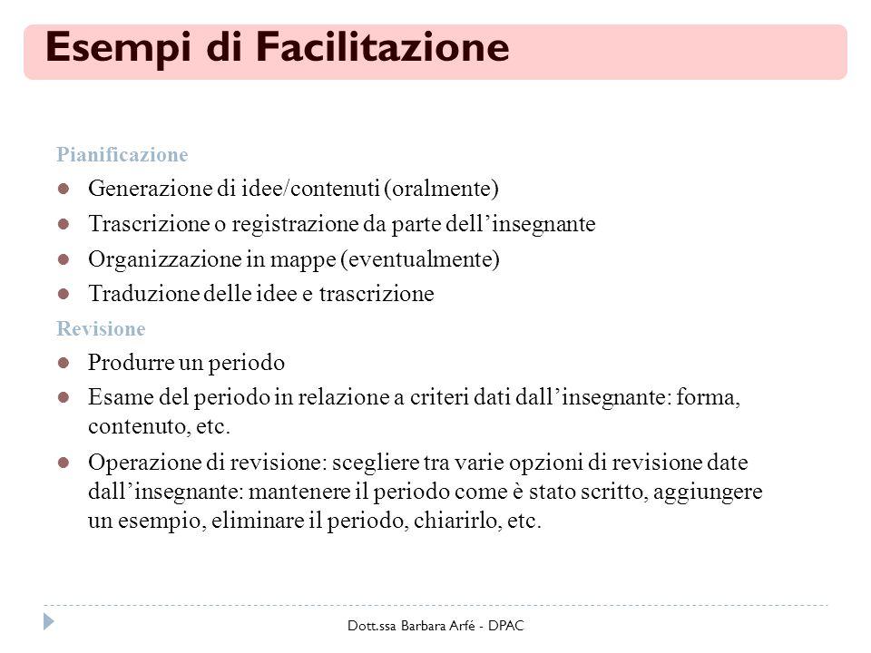 Esempi di Facilitazione Pianificazione Generazione di idee/contenuti (oralmente) Trascrizione o registrazione da parte dellinsegnante Organizzazione i
