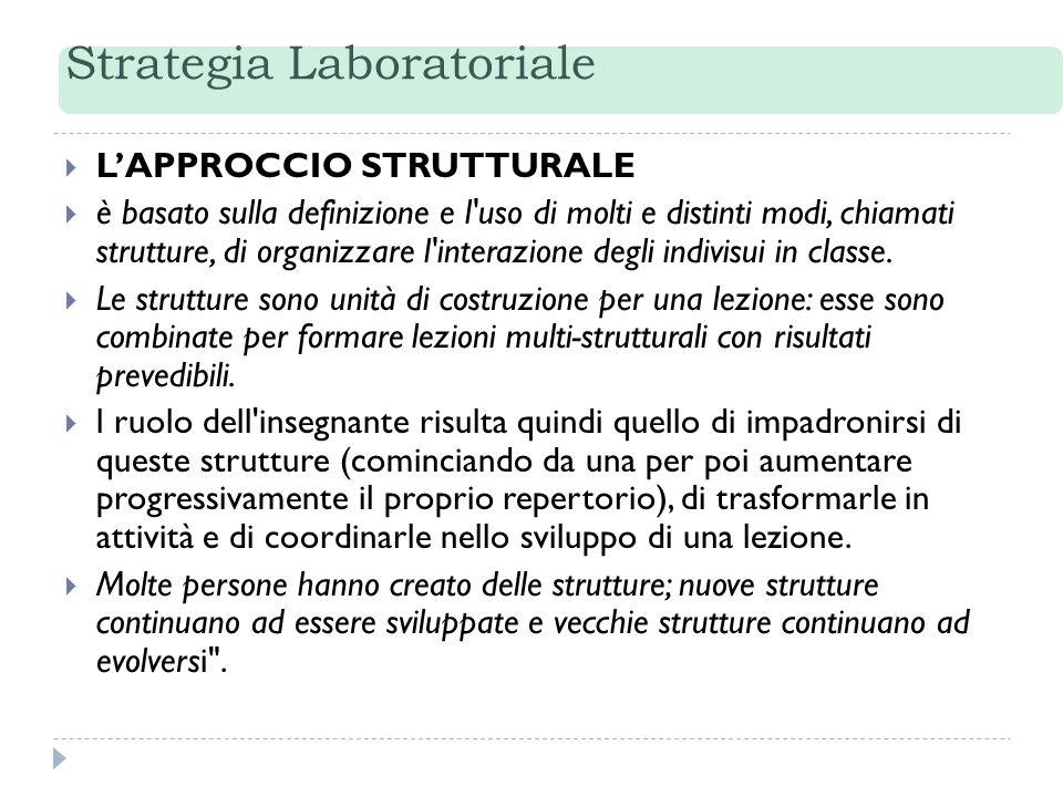 Strategia Laboratoriale LAPPROCCIO STRUTTURALE è basato sulla definizione e l'uso di molti e distinti modi, chiamati strutture, di organizzare l'inter