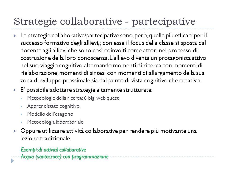 Strategie collaborative - partecipative Le strategie collaborative/partecipative sono, però, quelle più efficaci per il successo formativo degli allievi, ; con esse il focus della classe si sposta dal docente agli allievi che sono così coinvolti come attori nel processo di costruzione della loro conoscenza.
