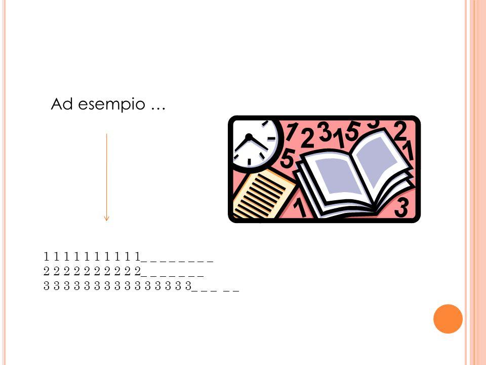 Ad esempio … 1 1 1 1 1 1 1 1 1 1_ _ _ _ _ _ _ _ 2 2 2 2 2 2 2 2 2 2_ _ _ _ _ _ _ 3 3 3 3 3 3 3 3 3 3 3 3 3 3 3_ _ _ _ _