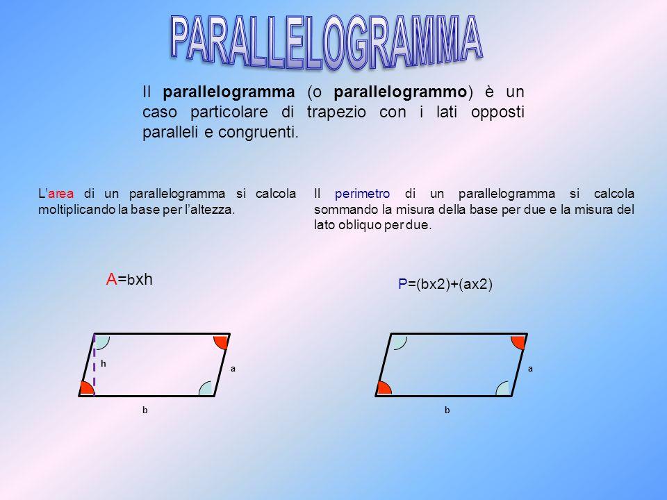 Il parallelogramma (o parallelogrammo) è un caso particolare di trapezio con i lati opposti paralleli e congruenti. b a Larea di un parallelogramma si
