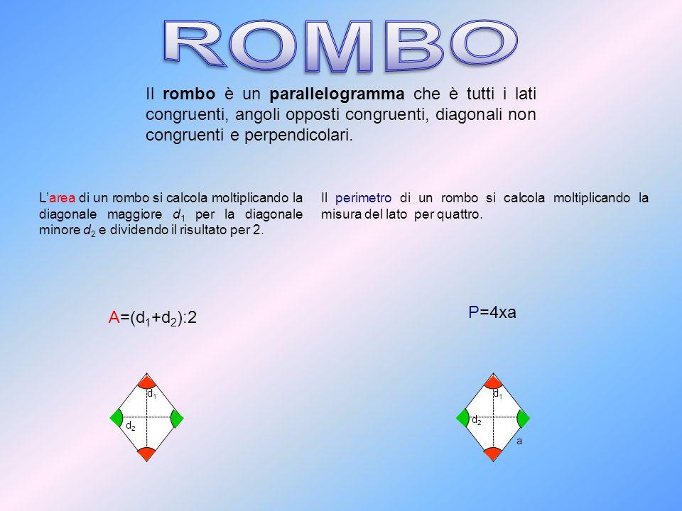 Il rombo è un parallelogramma che è tutti i lati congruenti, angoli opposti congruenti, diagonali non congruenti e perpendicolari. Larea di un rombo s