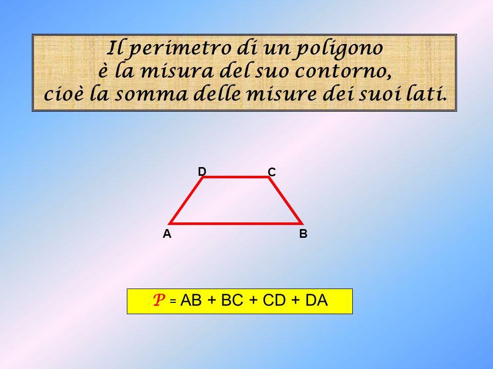 Il perimetro di un poligono è la misura del suo contorno, cioè la somma delle misure dei suoi lati. A B C D P = AB + BC + CD + DA