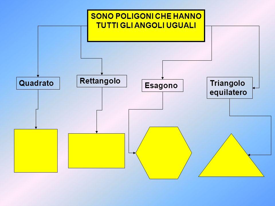 SONO POLIGONI CHE HANNO TUTTI GLI ANGOLI UGUALI Quadrato Esagono Triangolo equilatero Rettangolo