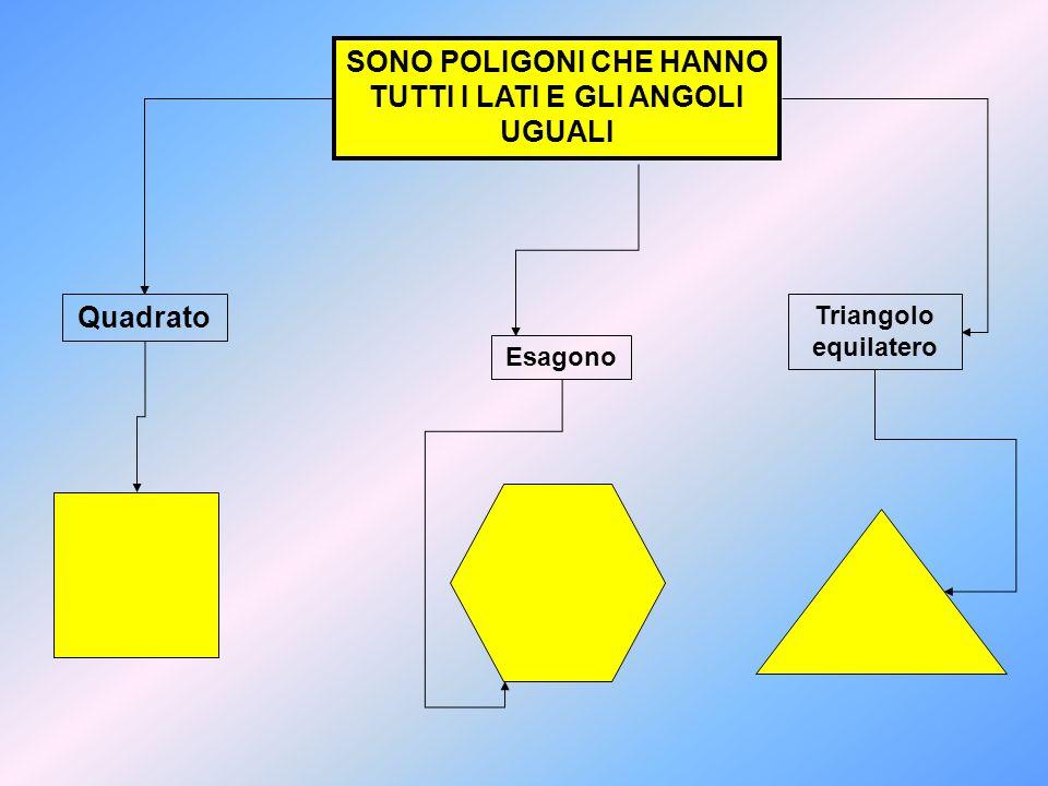 SONO POLIGONI CHE HANNO TUTTI I LATI E GLI ANGOLI UGUALI Quadrato Esagono Triangolo equilatero