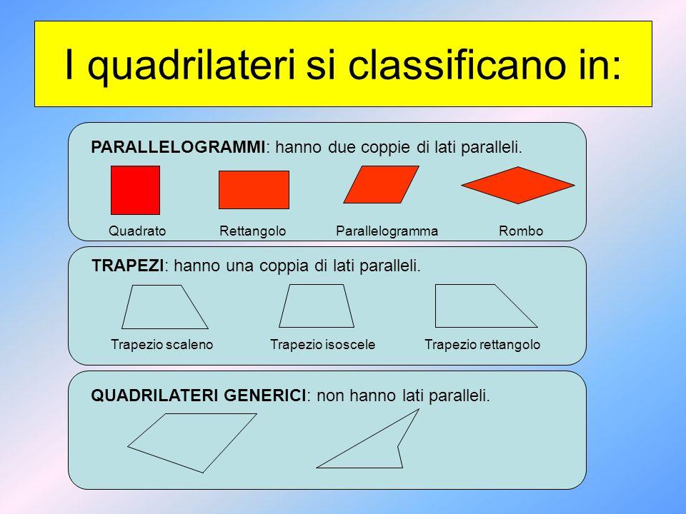 I quadrilateri si classificano in: PARALLELOGRAMMI: hanno due coppie di lati paralleli. TRAPEZI: hanno una coppia di lati paralleli. QUADRILATERI GENE