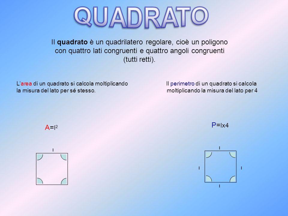 Larea di un quadrato si calcola moltiplicando la misura del lato per sé stesso. l P= lx4 Il perimetro di un quadrato si calcola moltiplicando la misur