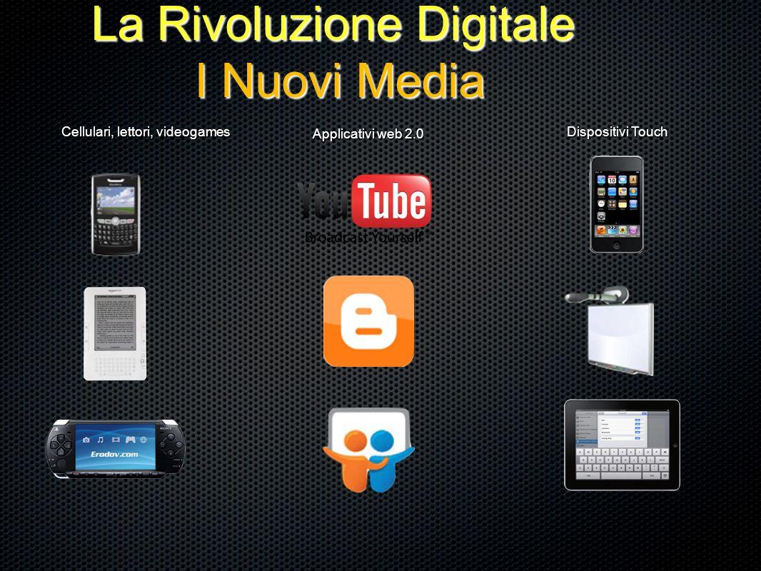 La Rivoluzione Digitale I Nuovi Media Cellulari, lettori, videogames Applicativi web 2.0 Dispositivi Touch