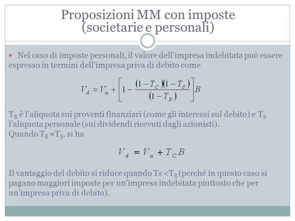 Proposizioni MM con imposte (societarie e personali) Nel caso di imposte personali, il valore dellimpresa indebitata può essere espresso in termini de