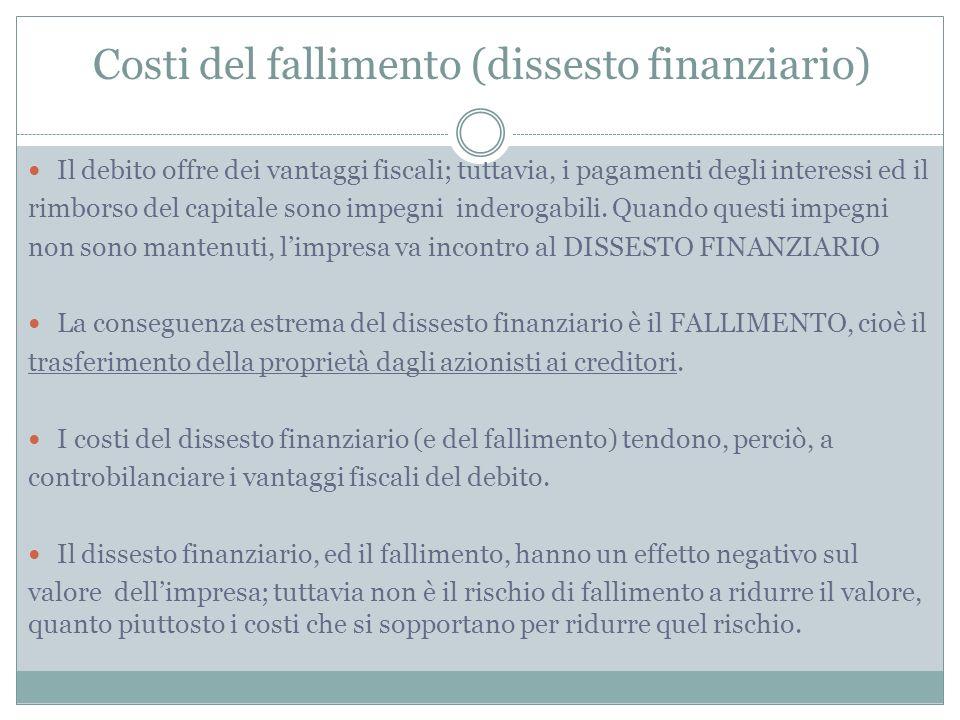 Costi del fallimento (dissesto finanziario) Il debito offre dei vantaggi fiscali; tuttavia, i pagamenti degli interessi ed il rimborso del capitale so