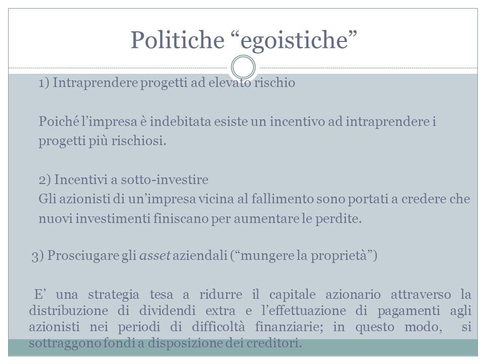 Politiche egoistiche 1) Intraprendere progetti ad elevato rischio Poiché limpresa è indebitata esiste un incentivo ad intraprendere i progetti più ris