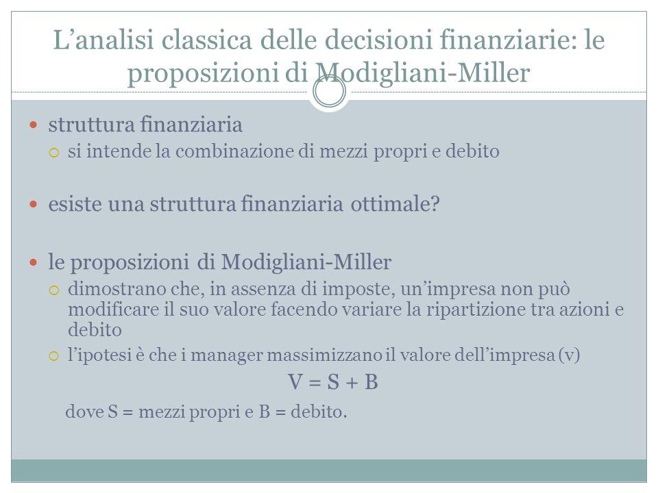 Lanalisi classica delle decisioni finanziarie: le proposizioni di Modigliani-Miller struttura finanziaria si intende la combinazione di mezzi propri e
