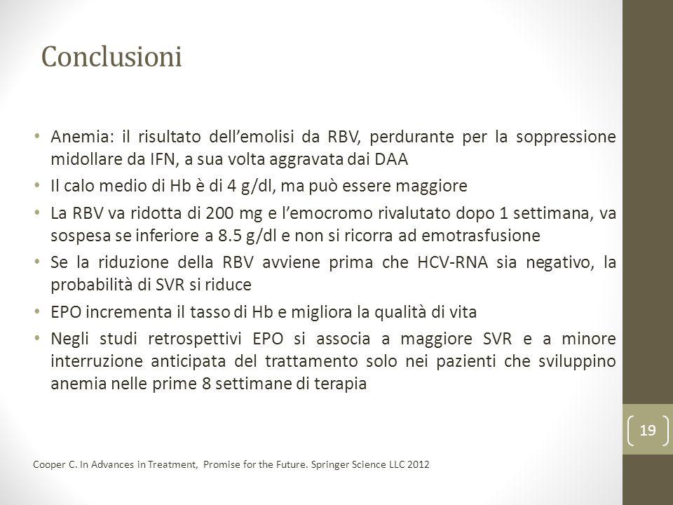 Conclusioni Anemia: il risultato dellemolisi da RBV, perdurante per la soppressione midollare da IFN, a sua volta aggravata dai DAA Il calo medio di H
