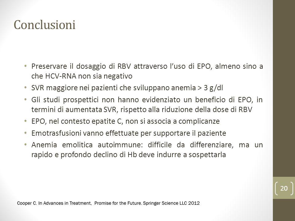 Conclusioni Preservare il dosaggio di RBV attraverso luso di EPO, almeno sino a che HCV-RNA non sia negativo SVR maggiore nei pazienti che sviluppano