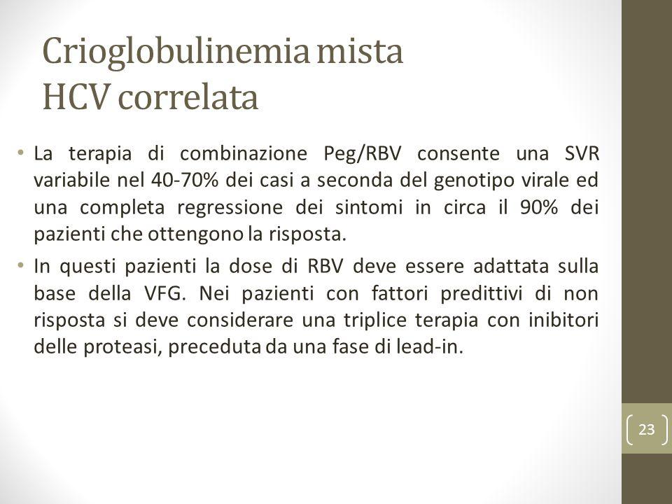 Crioglobulinemia mista HCV correlata La terapia di combinazione Peg/RBV consente una SVR variabile nel 40-70% dei casi a seconda del genotipo virale e