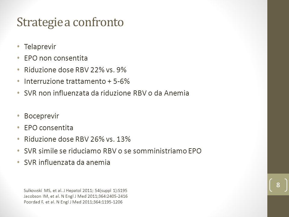 Strategie a confronto Telaprevir EPO non consentita Riduzione dose RBV 22% vs. 9% Interruzione trattamento + 5-6% SVR non influenzata da riduzione RBV