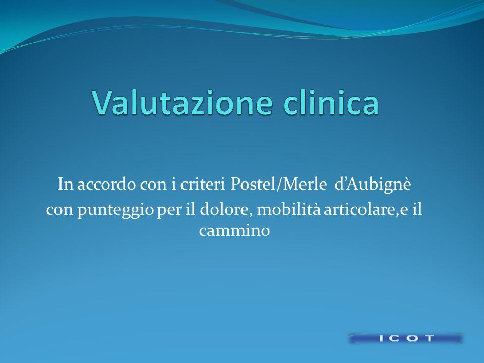 In accordo con i criteri Postel/Merle dAubignè con punteggio per il dolore, mobilità articolare,e il cammino