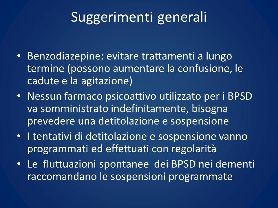 Suggerimenti generali Benzodiazepine: evitare trattamenti a lungo termine (possono aumentare la confusione, le cadute e la agitazione) Nessun farmaco