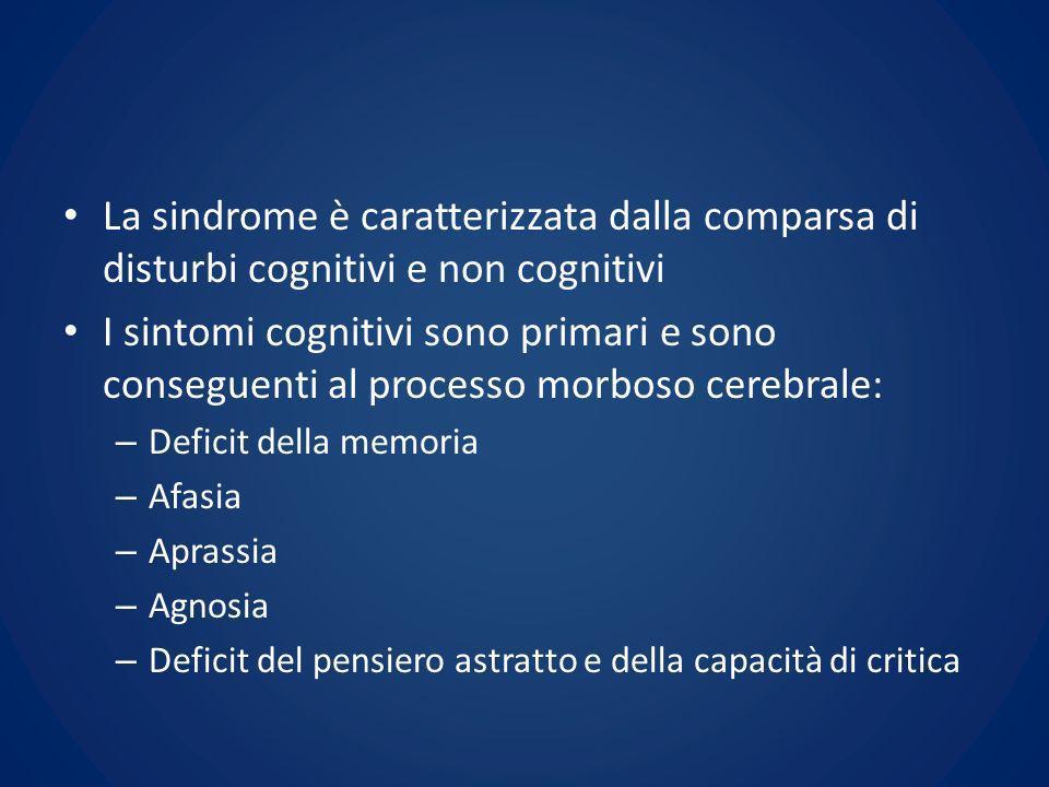 La sindrome è caratterizzata dalla comparsa di disturbi cognitivi e non cognitivi I sintomi cognitivi sono primari e sono conseguenti al processo morb