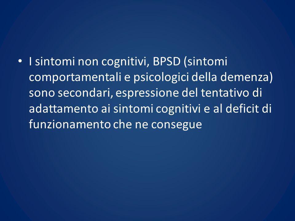 I BPSD comprendono: – alterazioni dellumore (depressione, labilità emotiva, euforia) – ansia – sintomi psicotici (deliri, allucinazioni, mistificazioni o falsi riconoscimenti) – sintomi neurovegetativi (alterazioni del ritmo sonno-veglia, dellappetito, del comportamento sessuale)