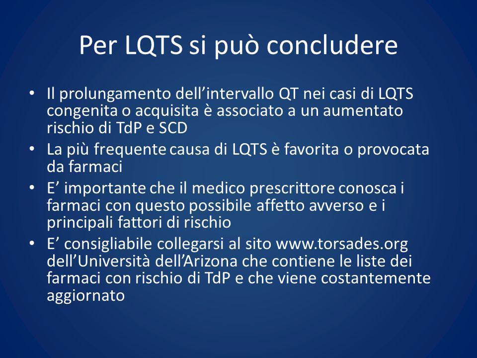 Per LQTS si può concludere Il prolungamento dellintervallo QT nei casi di LQTS congenita o acquisita è associato a un aumentato rischio di TdP e SCD L