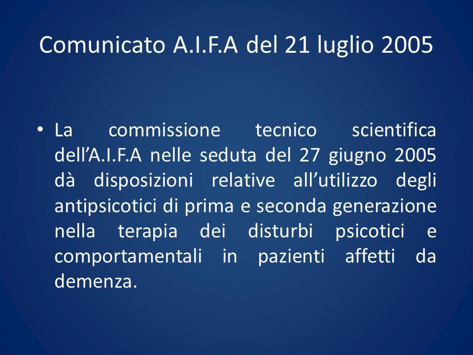 Comunicato A.I.F.A del 21 luglio 2005 La commissione tecnico scientifica dellA.I.F.A nelle seduta del 27 giugno 2005 dà disposizioni relative allutili