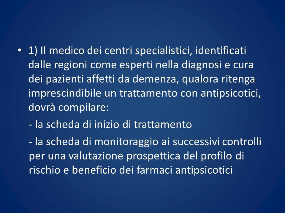 1) Il medico dei centri specialistici, identificati dalle regioni come esperti nella diagnosi e cura dei pazienti affetti da demenza, qualora ritenga
