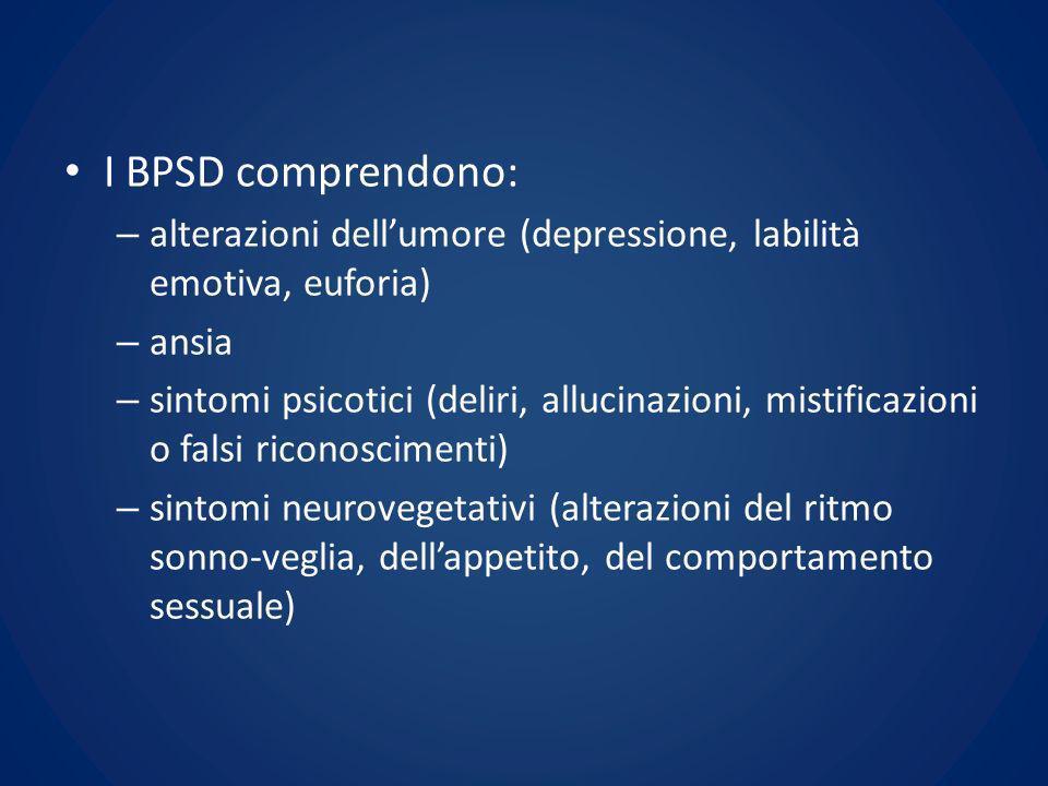 I BPSD comprendono: – alterazioni dellumore (depressione, labilità emotiva, euforia) – ansia – sintomi psicotici (deliri, allucinazioni, mistificazion