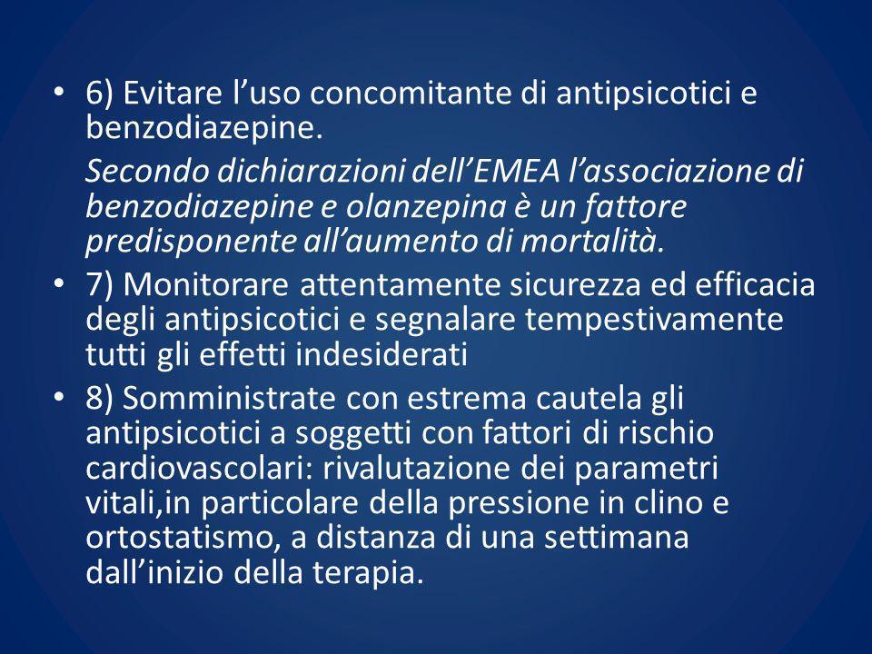 6) Evitare luso concomitante di antipsicotici e benzodiazepine. Secondo dichiarazioni dellEMEA lassociazione di benzodiazepine e olanzepina è un fatto
