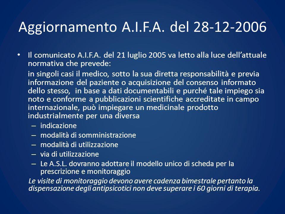 Aggiornamento A.I.F.A. del 28-12-2006 Il comunicato A.I.F.A. del 21 luglio 2005 va letto alla luce dellattuale normativa che prevede: in singoli casi