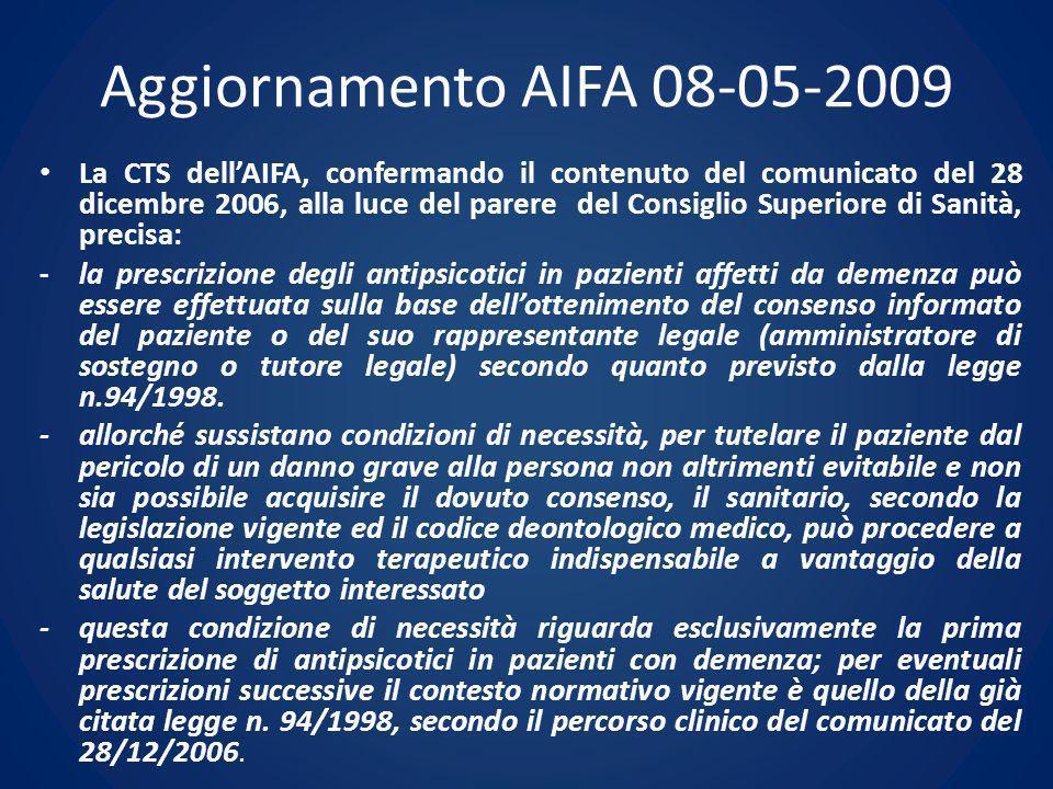 Aggiornamento AIFA 08-05-2009 La CTS dellAIFA, confermando il contenuto del comunicato del 28 dicembre 2006, alla luce del parere del Consiglio Superi