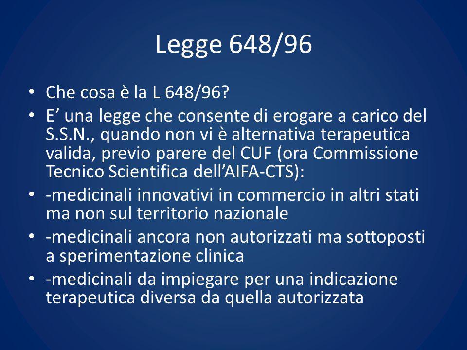 Legge 648/96 Che cosa è la L 648/96? E una legge che consente di erogare a carico del S.S.N., quando non vi è alternativa terapeutica valida, previo p